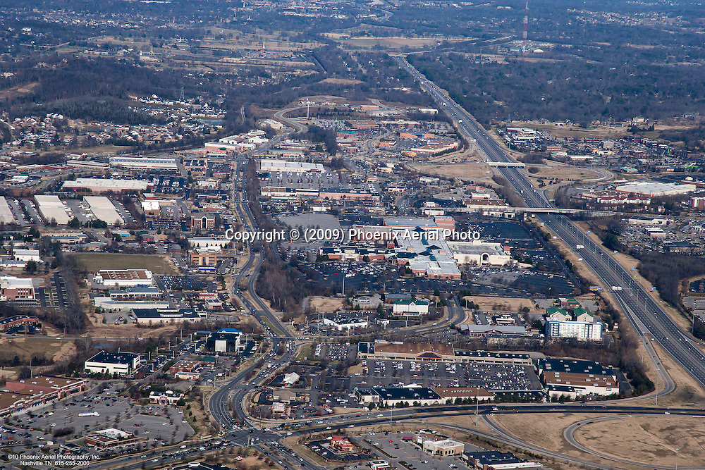 Aerial photo of the intersection of Cool Springs Boulevard and Mallory Lane in Franklin showing CoolSprings Mall and Interstate 65 in the background.