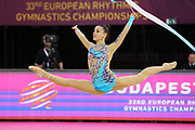 Evripidou Diananto, Cyprus, during the 33rd European Rhythmic Gymnastics Championships at Papp Laszlo Budapest Sports Arena, Budapest, Hungary on 20 May 2017. Photo by Myriam Cawston.