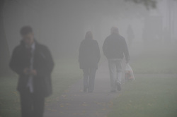 © Licensed to London News Pictures. 24/09/2013<br /> Foggy morning in the South East.<br /> Fog across the southeast this morning as people make their way to work and school in heavy fog conditions in Orpington,Kent,South East London border.<br /> Photo credit :Grant Falvey/LNP