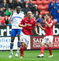 LONDON, ENGLAND - Saturday, October 8, 2011: Tranmere Rovers' Enoch Showunmi shouts out in anger against Charlton Athletic during the Football League One match at The Valley. (Pic by Gareth Davies/Propaganda)