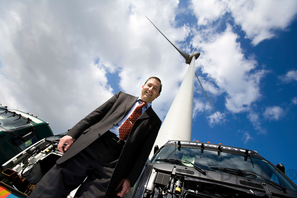 BRUSSELS - BELGIUM - 15 APRIL 2008 -- Patrick COLLIGNON, General Manager of Volvo Europa Truck in Ghent, made the factory the first CO2-free automotive factory worldwide. Here under one of the 3 wind turbines. Photo: Erik Luntang
