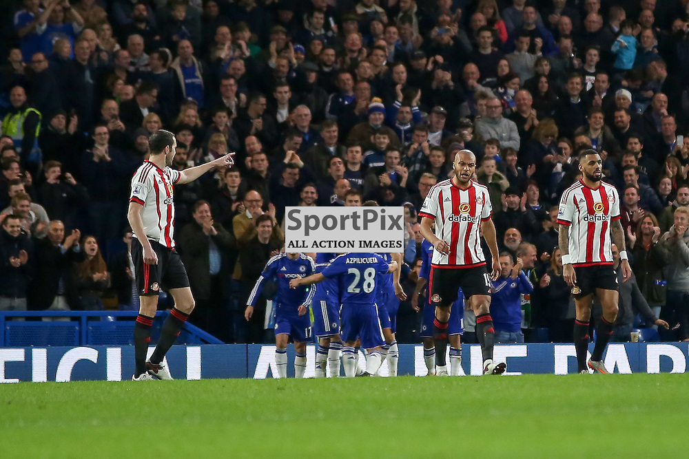 The sunderland defence point fingers at each other During Chelsea vs Sunderland on Saturday the 19th December 2015.