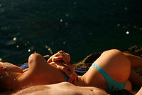 on the rocky beach, Manarola, Cinqueterre, Italy..photo by Owen Franken ..www.owenfranken.com.