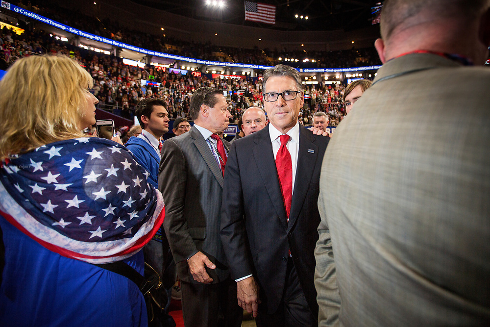 Former Texas Governor and Presidential hopeful Rick Perry. The Republican National Convention in Cleveland, where Donald Trump is nominated as the republican presidential candidate.