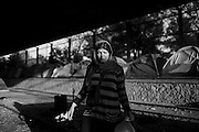 17 April 2016, Greece, Idomeni - A refugee woman inside the refugee camp of Idomeni.