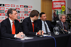 Bristol City club representatives (L-R Director Doug Harman, Football Managing Director Jon Lansdown, Manager Derek McInnes (SCO) and Chairman Keith Dawe) at the clubs Annual Supporters Meeting held in the AMC Communications Lounge - Photo mandatory by-line: Rogan Thomson/JMP - Tel: Mobile: 07966 386802 06/12/2012 - SPORT - FOOTBALL - Ashton Gate - Bristol - Club AGM.