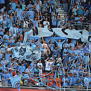 NYCFC fans in action during the New York Red Bulls Vs NYCFC, MLS regular season match at Red Bull Arena, Harrison, New Jersey. USA. 10th May 2015. Photo Tim Clayton