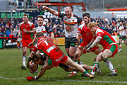 Bradford Bulls hooker Sam Hallas (9) scores a try during the Betfred League 1 match between Keighley Cougars and Bradford Bulls at Cougar Park, Keighley, United Kingdom on 11 March 2018. Picture by Simon Davies.