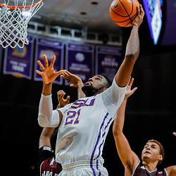 Jan 23, 2018; Baton Rouge, LA, USA; LSU Tigers forward Aaron Epps (21) shoots against the Texas A&M Aggies during the second half at the Pete Maravich Assembly Center. LSU defeated Texas A&M 77-65. Mandatory Credit: Derick E. Hingle-USA TODAY Sports