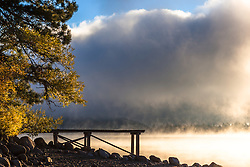 """Donner Lake Morning 18"" - Photograph of a foggy Donner Lake and a dock shot early on an autumn morning."