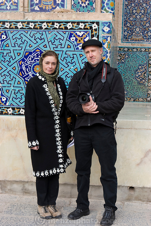 Faith D'Aluisio and Peter Menzel, award-winning authors of the book What I Eat: Around the World in 80 Diets, at the Jameh Mosque in the city of Yazd, Iran. (From the book What I Eat: Around the World in 80 Diets.) MODEL RELEASED.