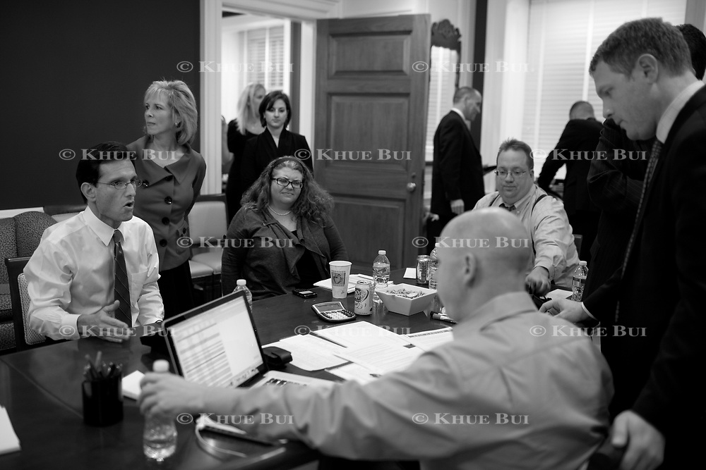 House Minority Whip Eric Cantor (R-VA) and wife, Diana Cantor, follow up on election returns in the 'War Room' of the Republican Whip's Office November 2, 2010, in Washington, DC.  Sweeping victories by Republican House candidates leads to a change in party control of the US House...and Cantor is expected to become the next Majority Leader.  ****Image available in color and/or B&W****..Photo by Khue Bui
