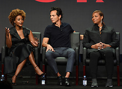 BEVERLY HILLS - AUGUST 8: Executive Producer Karin Gist, cast members Benjamin Bratt and Queen Latifah onstage during the panel for 'STAR' at the FOX portion of the 2017 Summer TCA press tour at the Beverly Hilton on August 8, 2017 in Beverly Hills, California. (Photo by Frank Micelotta/Fox/PictureGroup) *** Please Use Credit from Credit Field ***