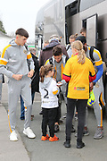 The Newport County players arrive and sign fan autographs  before the EFL Sky Bet League 2 match between Cheltenham Town and Newport County at LCI Rail Stadium, Cheltenham, England on 24 November 2018.