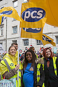 PCS young members Rhea James, Simone Shaw and Claire Keogh at the 4 Demands rally. . The People's Assembly demonstration that took place in central London on the 16th of April 2016.  Supported by all the major trade unions including PCS, focusing on a range of issues:  the defence of the NHS, the right to decent housing for everyone, investment in real and useful jobs, defence of Trade Union rights and a fully free and comprehensive Education system.