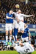 Crystal Palace #17 Christian Benteke, Crystal Palace #2 Joel Ward, Everton (43)Jonjoe Kenny, Everton (2) Morgan Schneiderlin during the Premier League match between Everton and Crystal Palace at Goodison Park, Liverpool, England on 10 February 2018. Picture by Sebastian Frej.