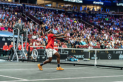 September 21, 2018 - Chicago, IL, U.S. - CHICAGO, IL - SEPTEMBER 21: Team World Frances Tiafoe of the United States returns a shot against Team Europe Grigor Dimitrov of of Bulgaria during their Men's Singles match on day one of the 2018 Laver Cup at the United Center on September 21, 2018 in Chicago, Illinois. (Photo by Robin Alam/Icon Sportswire) (Credit Image: © Robin Alam/Icon SMI via ZUMA Press)