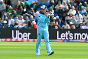 Jason Roy of England making a gesture with his hands during the ICC Cricket World Cup 2019 match between England and Bangladesh the Cardiff Wales Stadium at Sophia Gardens, Cardiff, Wales on 8 June 2019.