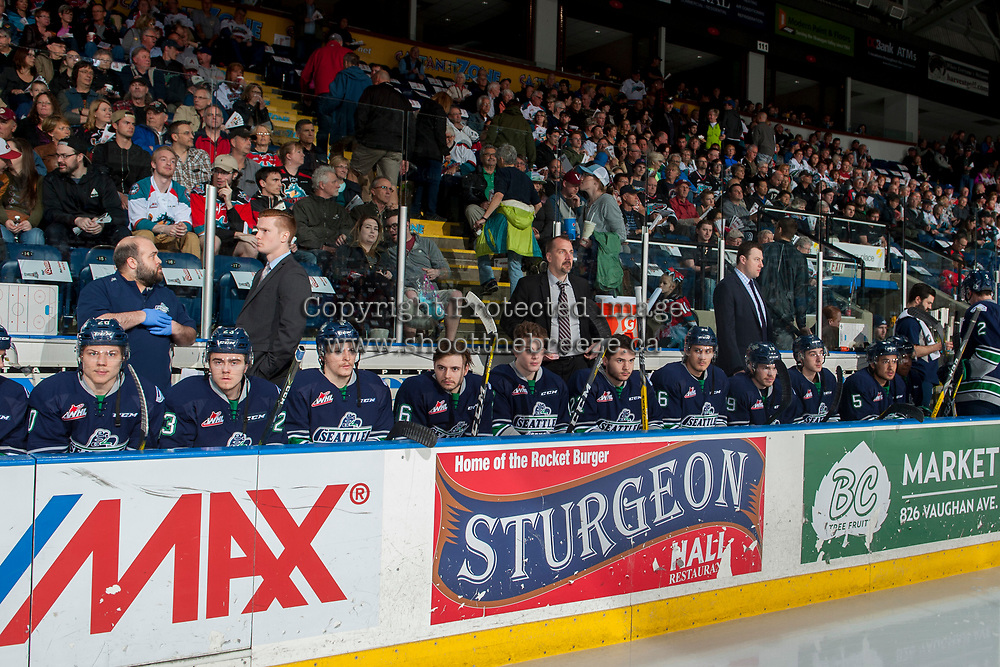 KELOWNA, CANADA - APRIL 25: The Seattle Thunderbirds' bench on April 25, 2017 at Prospera Place in Kelowna, British Columbia, Canada.  (Photo by Marissa Baecker/Shoot the Breeze)  *** Local Caption ***