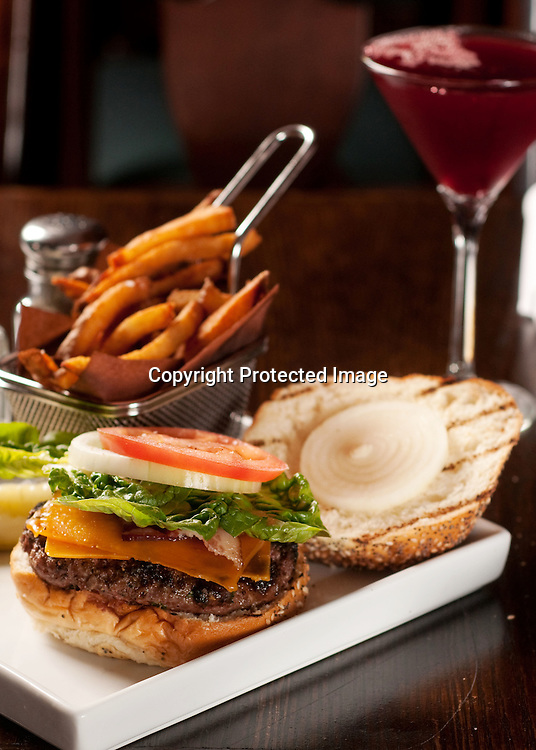 A Madhatter Classic burger and a Madtini at the Madhatter restaurant in Washington DC.