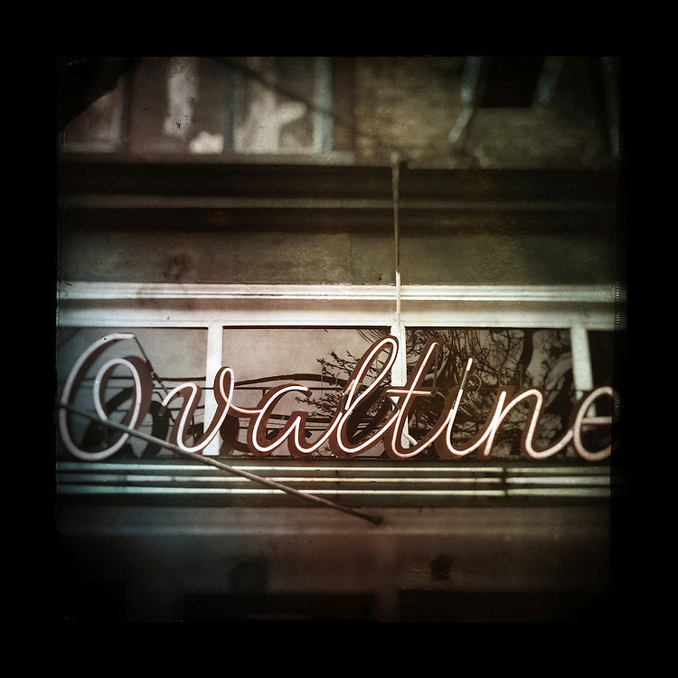"Charles Blackburn Instagram image of the Neon Ovaltine sign in Vancouver, BC. 5x5"" print."