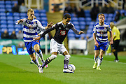 Thomas Ince turns away from Matěj Vydra during the Sky Bet Championship match between Reading and Derby County at the Madejski Stadium, Reading, England on 15 September 2015. Photo by David Charbit.