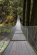 Suspension bridge at Cascade Falls Regional Park near Mission, British Columbia, Canada