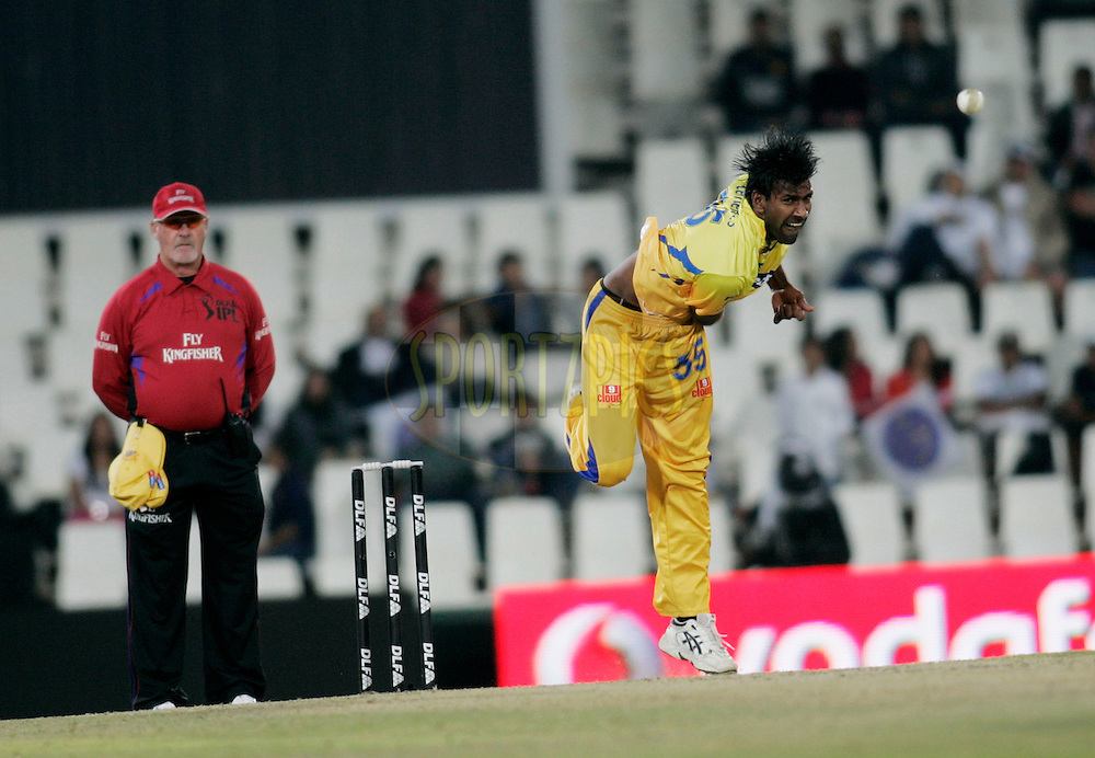 CENTURION, SOUTH AFRICA - 30 April 2009.  during the  IPL Season 2 match between the Rajasthan Royals and the Chennai Superkings held at  in Centurion, South Africa..Chennai Super Kings player Lakshmlpathy Balaji in action