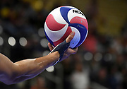 General overall as Pepperdine Waves outside hitter Kaleb Denmark holds a Molten volleyball against the Princeton Tigers during an NCAA Championships opening round match, Wednesday, April 30, 2019, in Long Beach, Calif. Pepperdine defeated Princeton 25-23, 19-25, 25-16, 22-25, 15-8.