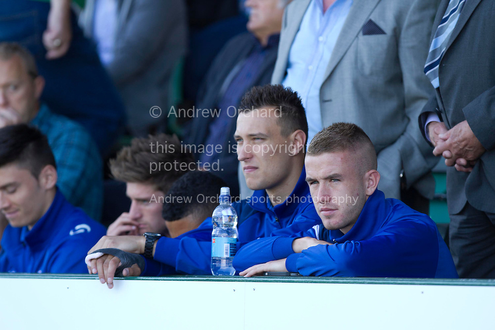 Marek Stech (two from right) and Paddy Madden (right) of Yeovil Town during the Skybet championship match, Yeovil Town v Reading at Huish Park in Yeovil on Saturday 31st August 2013. <br /> Picture by Sophie Elbourn, Andrew Orchard sports photography,