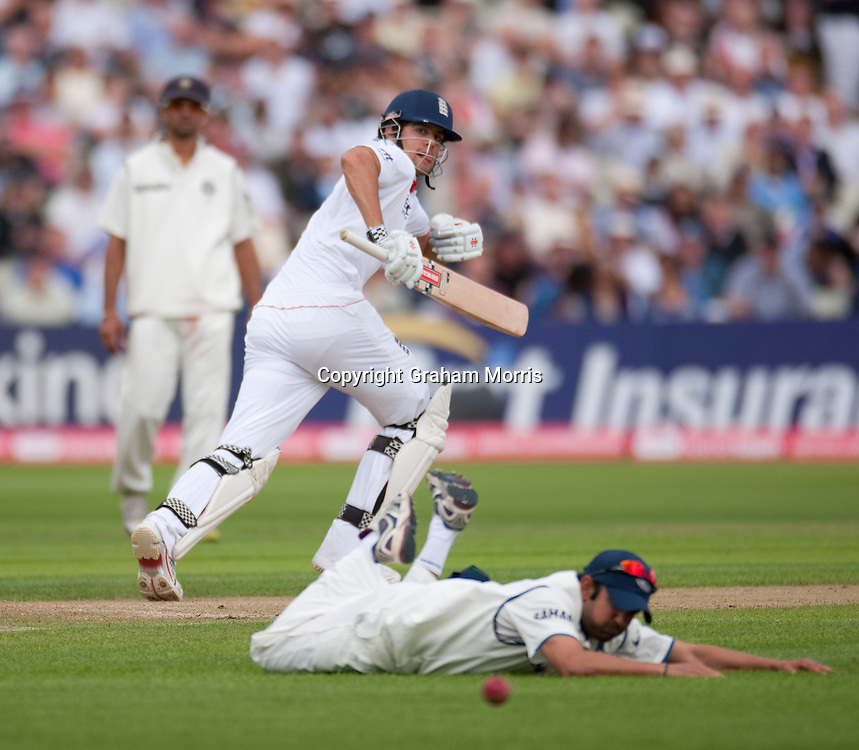 Alastair Cook bats (past Gautam Gambhir off Amit Mishra) during his double hundred in the third npower Test Match between England and India at Edgbaston, Birmingham.  Photo: Graham Morris (Tel: +44(0)20 8969 4192 Email: sales@cricketpix.com) 12/08/11