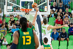 Alex Garcia of Brasil vs Goran Dragic of Slovenia during friendly basketball match between National Teams of Slovenia and Brasil at Day 2 of Telemach Tournament on August 22, 2014 in Arena Stozice, Ljubljana, Slovenia. Photo by Vid Ponikvar / Sportida