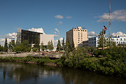 View of the Chena River and Golden Heart Plaza from the Cushman Street bridge in Fairbanks, Alaska.