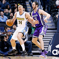 06 March 2017: Sacramento Kings center Kosta Koufos (41) defends on Denver Nuggets center Mason Plumlee (24) during the Denver Nuggets 108-96 victory over the Sacramento Kings, at the Pepsi Center, Denver, Colorado, USA.
