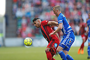 SUNDSVALL, SWEDEN - MAY 19: Hosam Aiesh of Ostersunds FK and Dennis Olsson of GIF Sundsvall during the Allsvenskan match between GIF Sundsvall and Ostersunds FK at Idrottsparken on May 19, 2018 in Sundsvall, Sweden. Photo: Nils Petter Nilsson/Ombrello ***BETALBILD***