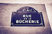Street sign on Rue de la Bûcherie, Left Bank, Paris, France