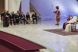 October 5, 2016 - Vatican City, Vatican - President of Vatican's Pontifical Council for Culture, Gianfranco Ravasi speaks at the International conference ''Sport at the Service of Humanity'', the first global conference on faith and sport promoted by the Vatican Pontifical Council for Culture, in the Paul VI hall in Vatican City, Vatican on October 05, 2016. (Credit Image: © Giuseppe Ciccia/Pacific Press via ZUMA Wire)