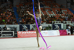 July 28, 2018 - Chieti, Abruzzo, Italy - Rhythmic gymnast Milena Baldassarri of Italy performs her ribbon routine during the Rhythmic Gymnastics pre World Championship Italy-Ukraine-Germany at Palatricalle on 29th of July 2018 in Chieti Italy. (Credit Image: © Franco Romano/NurPhoto via ZUMA Press)