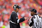 KANSAS CITY, MO - SEPTEMBER 14:   Lane Kiffin of the Oakland Raiders talks with a official during a game against the Kansas City Chiefs at Arrowhead Stadium on September 14, 2008 in Kansas City, Missouri.  The Raiders defeated the Chiefs 23-8.  (Photo by Wesley Hitt/Getty Images) *** Local Caption *** Lane Kiffin