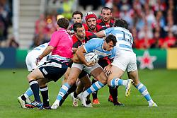 Argentina Winger Juan Imhoff is tackled - Mandatory byline: Rogan Thomson/JMP - 07966 386802 - 25/09/2015 - RUGBY UNION - Kingsholm Stadium - Gloucester, England - Argentina v Georgia - Rugby World Cup 2015 Pool C.