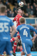 Rob Jones (Hartlepool United) wins the header during the EFL Sky Bet League 2 match between Hartlepool United and Carlisle United at Victoria Park, Hartlepool, England on 14 April 2017. Photo by Mark P Doherty.