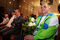 Matjaz Kopitar at reception of Slovenia team arrived from Winter Olympic Games Sochi 2014 on February 19, 2014 at Airport Joze Pucnik, Brnik, Slovenia. Photo by Vid Ponikvar / Sportida