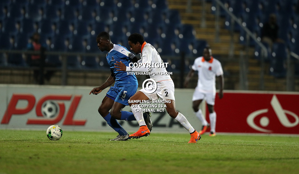 Dennis Wieldiech of Maritzburg Utd  and Thabiso Semenya of Polokwane City after the ball during the 2016 Premier Soccer League match between Maritzburg Utd and Polokwane City held at the Harry Gwala Stadium in Pietermaritzburg, South Africa on the 27th September 2016<br /> <br /> Photo by:   Steve Haag / Real Time Images