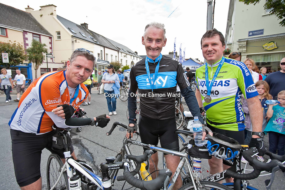 Douglas Hurley,Ambrose Heagney and Fintan Lahiffe,Corofin at the Etap Hibernia Skyride on Sunday. Photograph by Eamon Ward