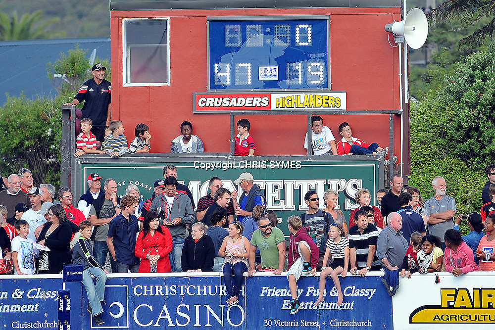 Final score of the Super Rugby Pre-season game Crusaders v Highlanders. Rugby Park, Greymouth, New Zealand. Friday 3 February 2012. Photo: Chris Symes/www.photosport.co.nz