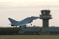 """03 NOV 2003, LAAGE/GERMANY:<br /> Eurofighter EF 2000 """"Typhoon"""" hier in der zweisitzigen Ausbildungsversion, neues Jagdflugzeug der Bundesluftwaffe, kurz nach dem Start, Jagdgeschwader 73 """"Steinhoff"""", Fliegerhorst Laage<br /> IMAGE: 20031103-01-099<br /> KEYWORDS: Bundeswehr, Bundesluftwaffe, Jet, Kampfflugzueg, in der Luft"""