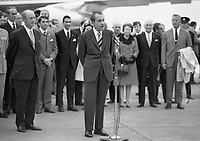American President Richard Nixon gives a Speech to all assembled to greet him on his arrival to Ireland, An Taoiseach Jack Lynch standing behind him, circa October 1970 (Part of the Independent Newspapers Ireland/NLI Collection).