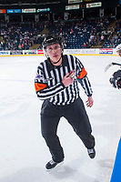 KELOWNA, CANADA - APRIL 25: Referee Fraser Lawrence skates in front the bench on April 25, 2017 at Prospera Place in Kelowna, British Columbia, Canada.  (Photo by Marissa Baecker/Shoot the Breeze)  *** Local Caption ***
