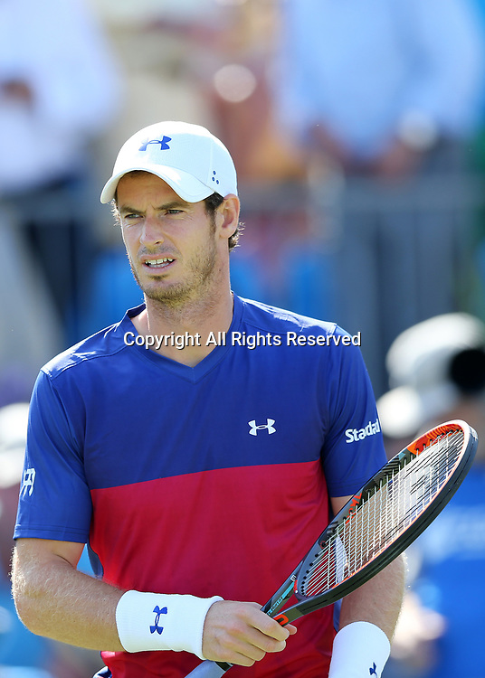 June 20th 2017, Queens Club, West Kensington, London; Aegon Tennis Championships, Day 2; Andy Murray of Great Britain looks on