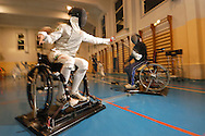 Matteo Betti a new promise of disabled sport,  training  fiencing. ITALY